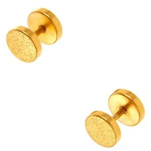 Claire's 18G Gold Textured Faux Ear Plugs, NIB